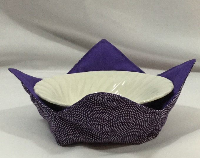 White Polkadot Swirl on  Purple Microwave Bowl Cozy; Medium, Salad Bowl Size, Reversible, Free Shipping, Hot Bowl Pad-IPFG-000348