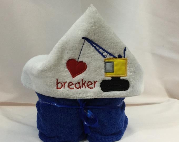 Heart Breaker Hooded Towel for Kids, FREE SHIPPING, Full Size Bath Towel, Plush Towel; Kid's Bath Wrap - IPFG-000416
