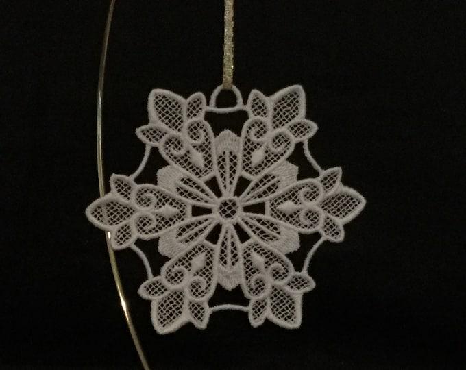 Fleur-de-Lis Snowflake Ornament; Free Standing Lace Fleur-de-Lis Snowflake Ornament; Christmas Card Insert Gift - IPFG-000288