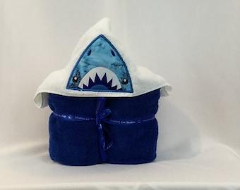 Shark Applique Hooded Towel, Shark Hoodie; Kids Hooded Bath Towel; Bath Wrap - IPFG-000048