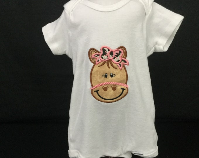 Girl Horse Baby Onesie; 6-9 Month Onesie; Baby Girl Clothing; Girl Bodysuit, Gerber Onesies; FREE SHIPPING; Baby Shower - IPFG-000292