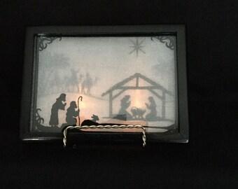 "3-D Christmas Nativity Shadow Box with Stand; 5"" x 7"" Custom Frame, Christmas Story; Birth of Jesus in Bethlehem; Organza Art - IPFG-000114"