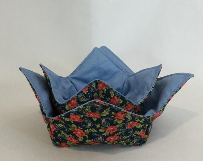 "SET-Red Roses/Paisley Microwave Bowl Cozies-Medium and Small / 6"" & 4"" Bottom Diameters; Salad Bowl/Coffee Mug Size, Reversible IPFG-000204"