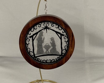 3-D Nativity Silhouette Christmas Ornament; Holy Family Organza Ornament; Religious Ornament; Red Mahogany Stained Wood -  IPFG-000230