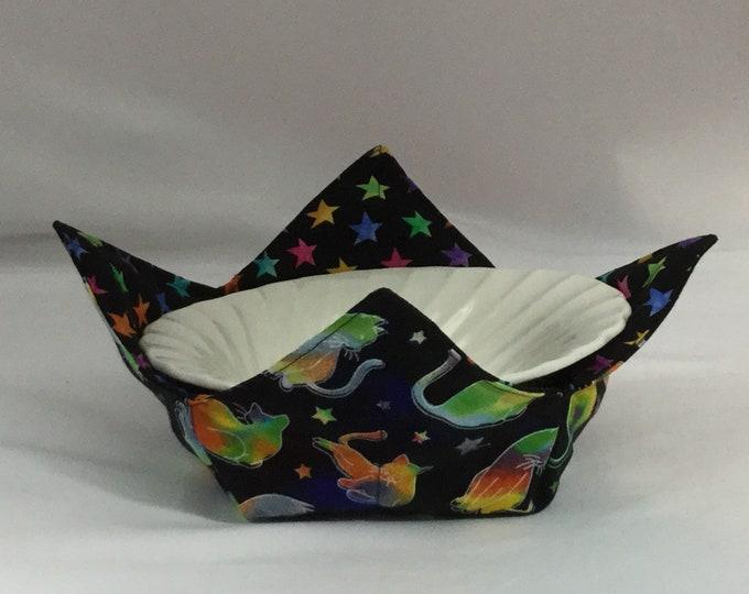 Rainbow Cats Microwave Bowl Cozy; Medium, Salad Bowl Size, Reversible, Free Shipping, Hot Bowl Pad-IPFG-000353
