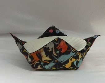 Playful Cats and Toys Microwave Bowl Cozy; Medium, Salad Bowl Size, Reversible, Free Shipping, Hot Bowl Pad-IPFG-000354