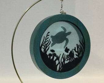 3-D Sea Life & Sea Turtle Silhouette Christmas Ornament; 2019 Charm Included, Turtle Organza Ornament; Organza Embroidery Art - IPFG-000232