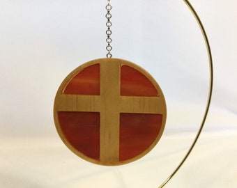 Wood Cross with Stained Glass Ornament, Hand Crafted Cross, Opalescent Mix Stained Glass - IPFG-000433