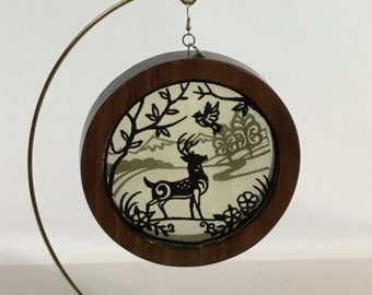 3-D Stag Silhouette Ornament with a 2020 Charm; Shadowbox Ornament; Red Mahogany Stained Wood - IPFG-000314
