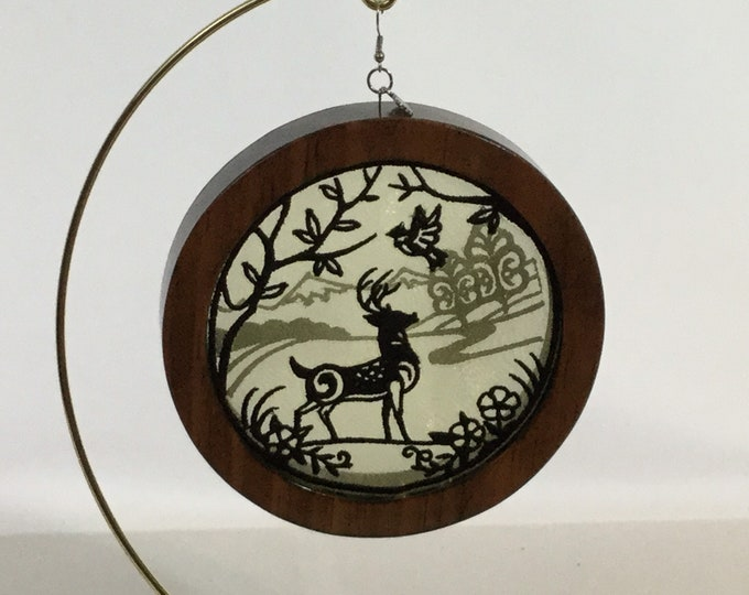 3-D Stag Silhouette Ornament with a 2020 Charm; 3D Organza Art Ornament; Red Mahogany Stained Wood - IPFG-000314