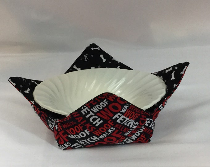 Woof-Woof Microwave Bowl Cozy; Medium, Salad Bowl Size, Reversible, Free Shipping, Hot Bowl Pad-IPFG-000343