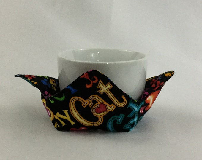 """I Love My Cat Microwave Bowl Cozy-Small; 4"""" Bottom Diameter; Coffee Cup Size; Leftover Hot Bowl Pad; Small Bowl Size, Reversible IPFG-000135"""
