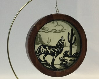 3-D Desert Mystique Coyote Silhouette Shadowbox Christmas Ornament; 2019 Charm Organza Art; Framed Ornament; Embroidered Organza-IPFG-000233
