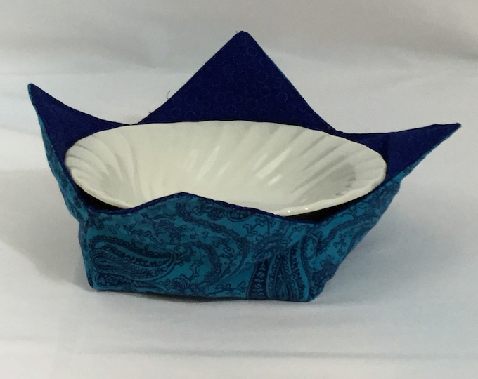 "Blue Paisley Microwave Bowl Cozy-Medium-6""; Salad Bowl Size, Leftover Bowl Pad; Hot Bowl Pad; Wrap & Zap; Reversible-IPFG-000378"