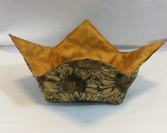 "Sunflowers and Bees Microwave Bowl Cozy-Medium-6"" Bottom Diameter; Sunflower Bowl Holder; Leftover Bowl Hot Pad; Reversible - IPFG-000479"