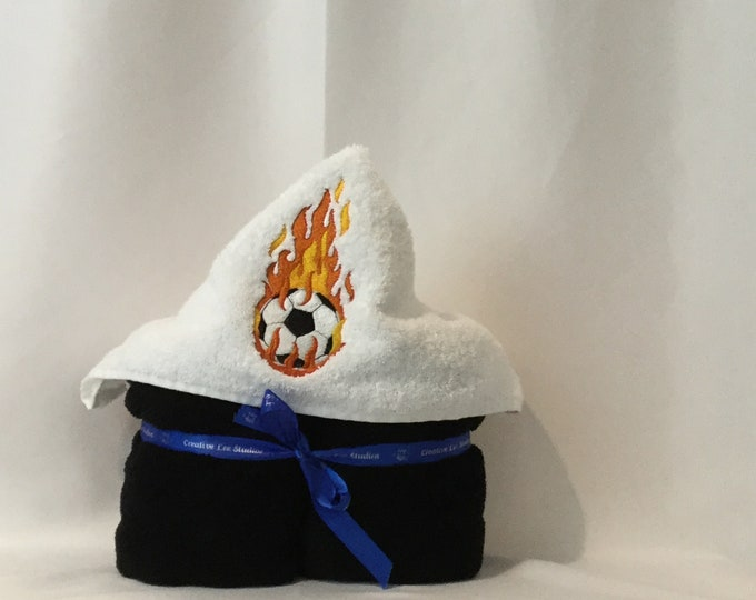 "PERSONALIZE - Soccer Hooded Towel w/Plush Black Towel, Approx 30"" x 52""; Kid's Soccer Hoodie, Bath Wrap, Embroidered Tpwel - IPFG-000115"