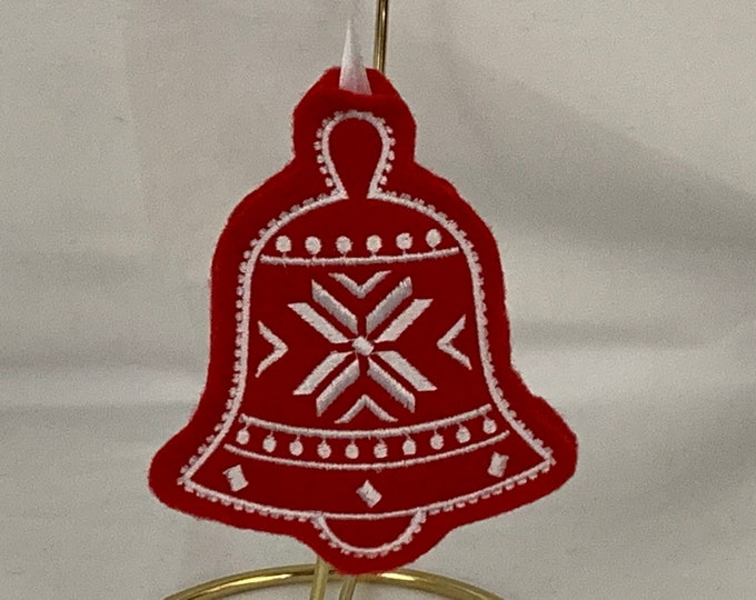 Nordic Bell Cookie Ornament made with Felt; Embroidered Flowers Ornament; Teacher Gift;  FREE SHIPPING; Icing Cookie Ornament - IPFG-000278