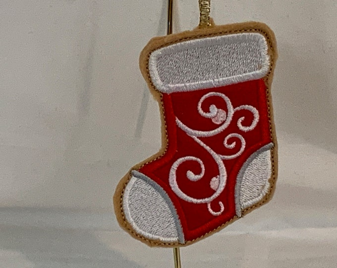 Stocking Cookie Ornament made with Felt; Embroidered Stocking Ornament; FREE SHIPPING; Icing Cookie Ornament - IPFG-000241