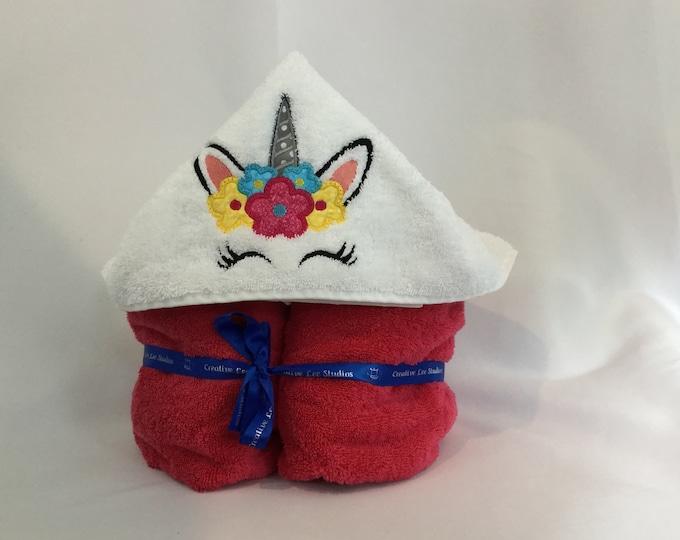 "Unicorn Hooded Towel for Kids, Flowers Crown, Approx 30"" W x 52"" L; Unicorn Hoodie; Kid's Bath Wrap; FREE SHIPPING - IPFG-000213"