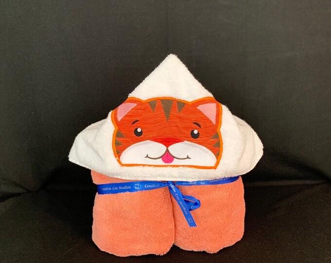Tiger Hooded Towel for Kids, FREE SHIPPING, Full Size Plush Bath Towel; Bath Wrap - IPFG-000057