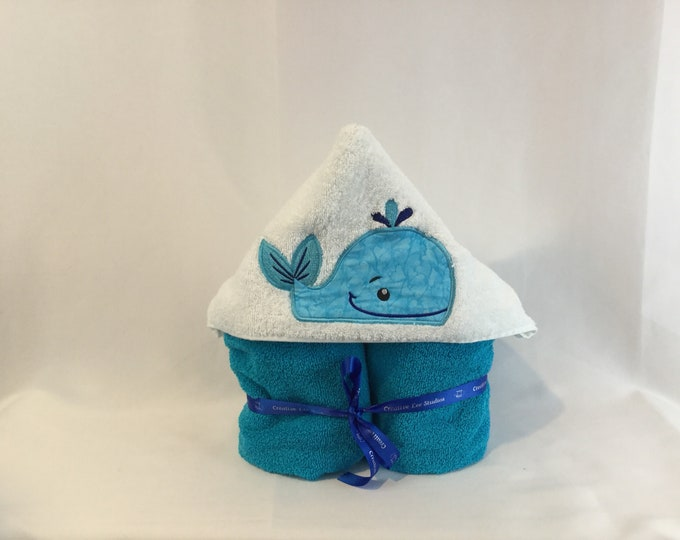 """Whale Hooded Towel for Kids, Approximately 30"""" W x 52"""" L, Whale Hoodie; Bath Wrap; FREE SHIPPING - IPFG-000047"""