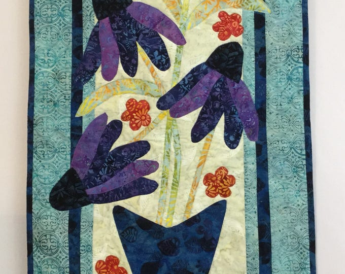 Wall Hanging - Cone Flowers are in Bloom in this beautiful Vase in our Appliqué Wall Hanging or Table Runner; Batik Fabric - IPFG-000014