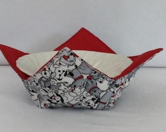 "Doggie Love Microwave Bowl Cozy-Medium 6"" Bottom Diameter; Leftover Bowl Pad; Hot Bowl Pad, Ice Cream Bowl Pad, Reversible - IPFG-000109"