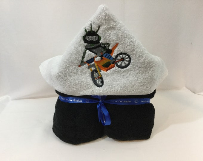 Dirt Bike Robot Hooded Towel for Kids, FREE SHIPPING, Full Size Plush Bath Towel; Bath Wrap - IPFG-000409