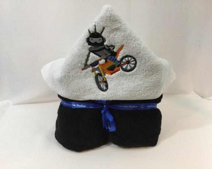 Dirt Bike Robot Hooded Towel for Kids, FREE SHIPPING, Full Size Plush Bath Towel; Bath Wrap - IPFG-000409
