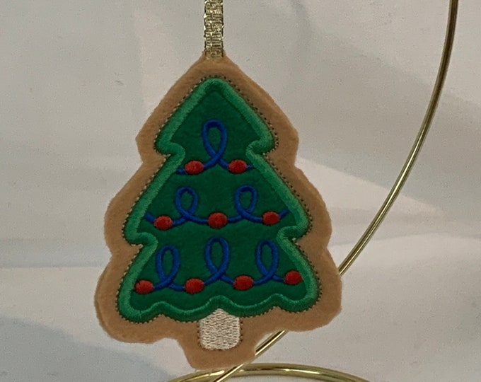 Christmas Tree Cookie Ornament with Red Christmas Ornaments, Teacher Ornament; Embroidered Ornament, FREE SHIPPING; Icing Cookie-IPFG-000275