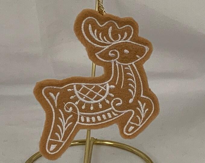 Reindeer Gingerbread Cookie Ornament; Christmas Reindeer; Felt Ornament; FREE SHIPPING; Tree Ornament - IPFG-000154