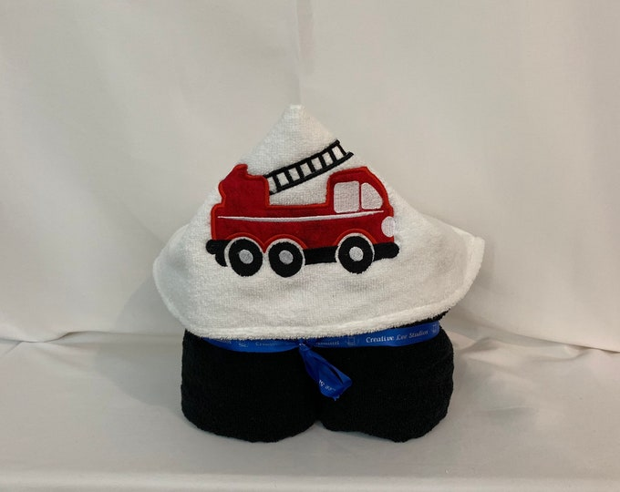 "Fire Truck Hooded Towel for Kids, Approx 30"" W x 52"" L; Kid's Bath Wrap; FREE SHIPPING - IPFG-000259"