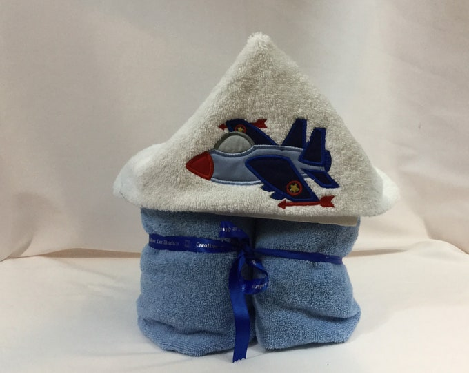 Fighter Jet Plane Hooded Towel for Kids, FREE SHIPPING, Full Size Bath Towel, Plush Towel; Kid's Bath Wrap - IPFG-000411