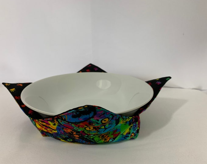 """Sweet Cats Microwave Bowl Cozy; Large 8"""" Bottom Diameter, Free Shipping, Hot Bowl Pad-IPFG-000457"""