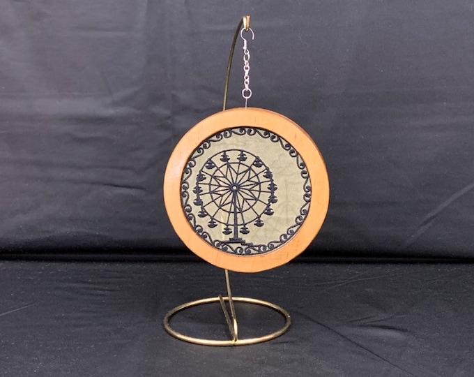 3-D Ferris Wheel Silhouette Christmas Ornament; Handmade Wooden Frame; Hooped Ornament; Family Ornament; Embroidered Ornament - IPFG-000164