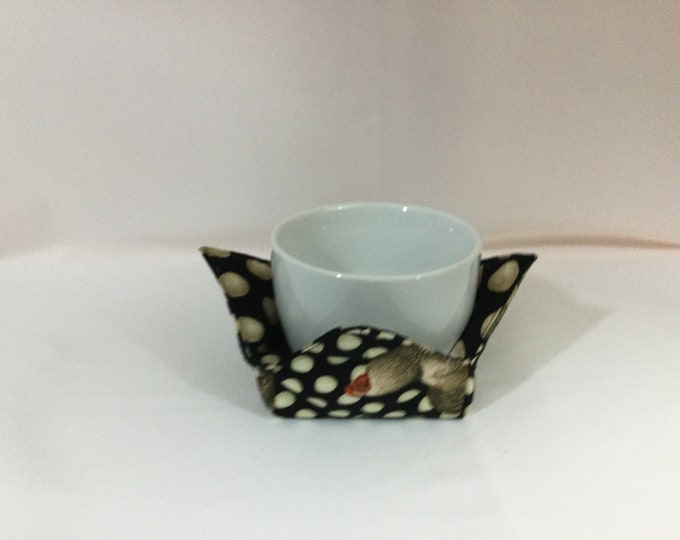 """Roosters and Eggs Microwave Bowl Cozy, Small Coffee Cup Size; 4"""" Bottom Diameter, Reversible, Free Shipping, Hot Bowl Pad-IPFG-000456"""
