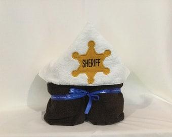 Sheriff Badge Hooded Towel for Kids, Sheriff Towel, Full Size Bath Towel, Bath Wrap; FREE SHIPPING IPFG-000294