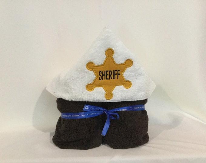 Sheriff Badge Hooded Towel for Kids, FREE SHIPPING, Full Size Plush Bath Towel; Bath Wrap -  IPFG-000294