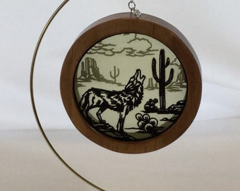 3-D Desert Mystique Coyote Silhouette Shadowbox Christmas Ornament; Charm Organza Art; Framed Ornament; Embroidered Organza-IPFG-000233