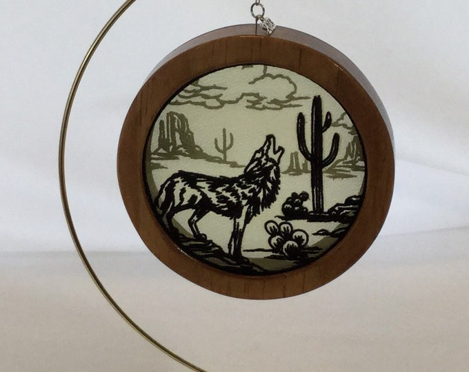 3-D Desert Mystique Coyote Silhouette Shadowbox Christmas Ornament; 2020 Charm Organza Art; Framed Ornament; Embroidered Organza-IPFG-000233