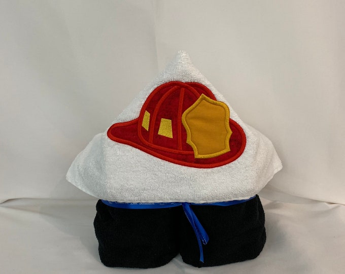 "Fireman's Hat Hooded Towel for Kids, Approx 30"" W x 52"" L; Kid's Bath Wrap; FREE SHIPPING - IPFG-000260"