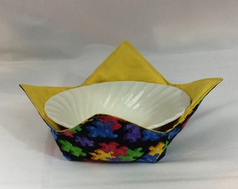 Puzzle Pieces Microwave Bowl Cozy; Medium, Salad Bowl Size, Reversible, Free Shipping, Hot Bowl Pad-IPFG-000368