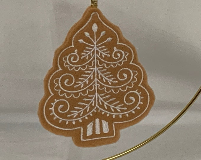 Christmas Tree Gingerbread Ornament; Christmas Tree Cookie; Felt Ornament; FREE SHIPPING; Tree Ornament - IPFG-000156