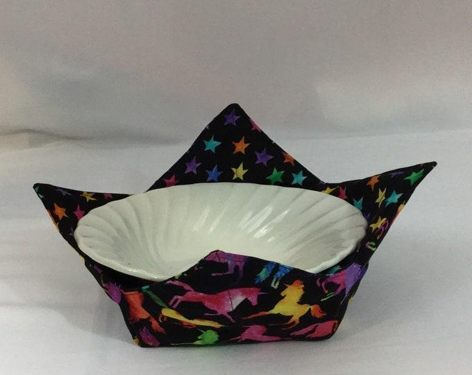 Rainbow Unicorns Microwave Bowl Cozy; Medium, Salad Bowl Size, Reversible, Free Shipping, Hot Bowl Pad-IPFG-000363
