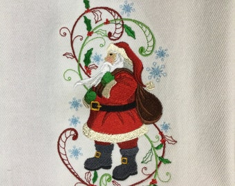"Kitchen Towel - Enchanted Christmas Santa, 28"" x 20"", FREE SHIPPING, Funny Towel, 100% Cotton Towel, Two Hanging Tabs  - IPFG-000434"