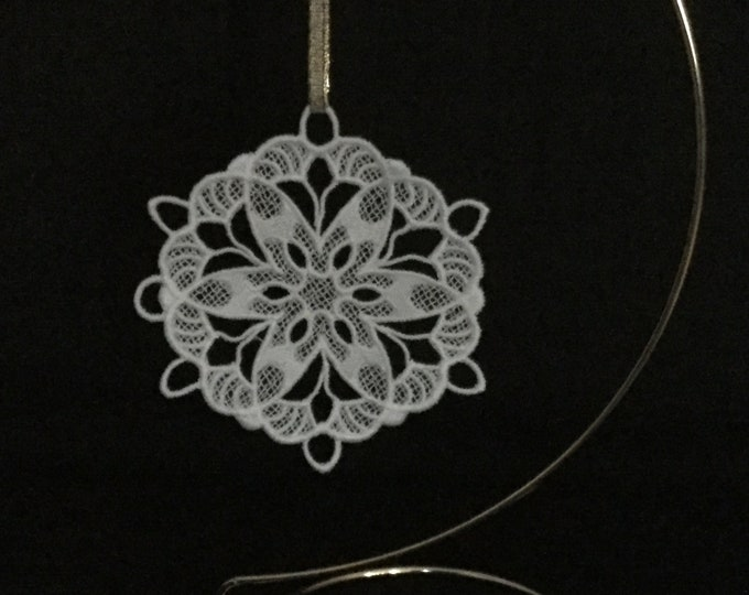 Poinsettia Snowflake Ornament; Lace, Free Standing Lace Poinsettia Ornament; Christmas Card Insert Gift; Flower Ornament  - IPFG-000284