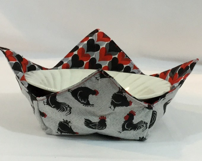 """Roosters and Hearts Microwave Bowl Cozy - Medium-Salad Bowl Size; 6"""" Bottom Diameter, Reversible, Free Shipping, Hot Bowl Pad-IPFG-000340"""