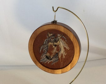Horse Head Ornament; Embroidered Ornament, Cactus, Horseshoe and Cowboy Hat, Faux Leather, Cherry Stain Wood - IPFG-000392