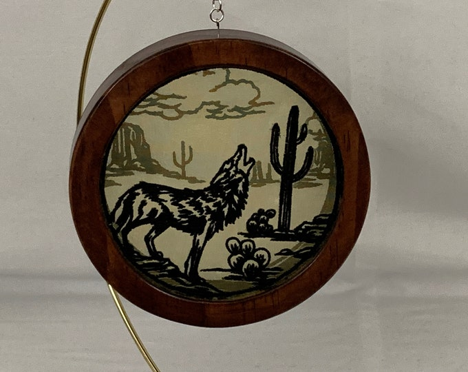 3-D Desert Mystique Coyote Silhouette Shadowbox Christmas Ornament; Organza Art; Framed Ornament; Embroidered Organza - IPFG-000233
