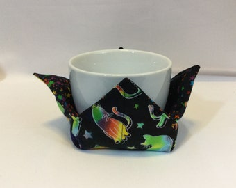 "Cats and Stars Galore Microwave Bowl Cozy-Small; 4"" Bottom Diameter; Coffee Cup Size; Small Bowl Size; Reversible - IPFG-000448"